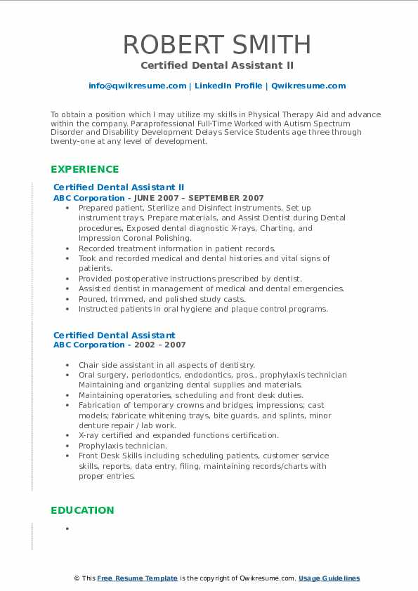 Certified Dental Assistant II Resume Model