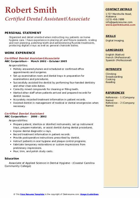 Certified Dental Assistant/Associate Resume Template
