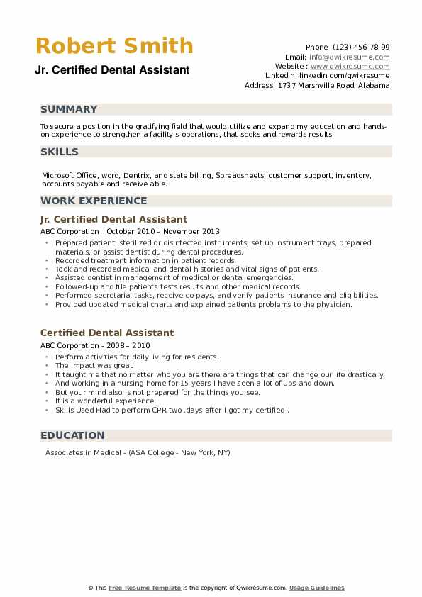 Jr. Certified Dental Assistant Resume Model