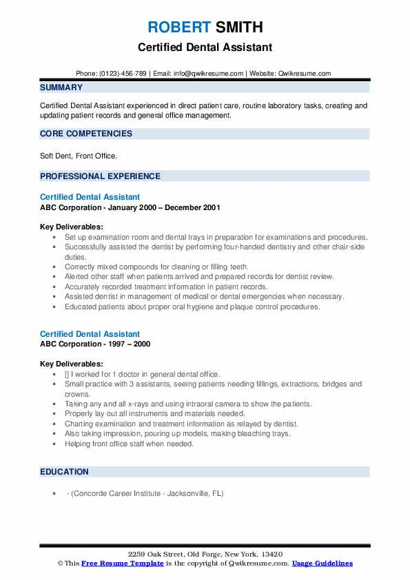 Certified Dental Assistant Resume example