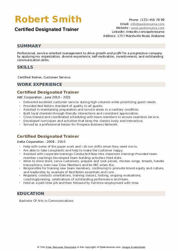 Certified Designated Trainer Resume example