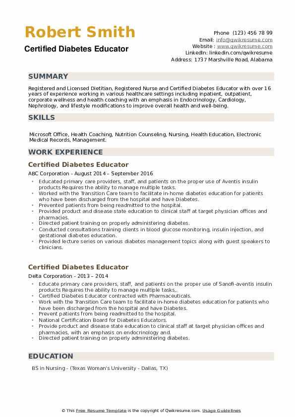 Certified Diabetes Educator Resume example
