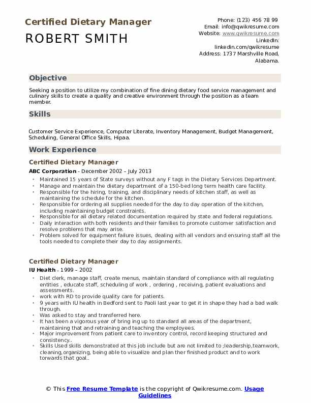 Certified Dietary Manager Resume Example