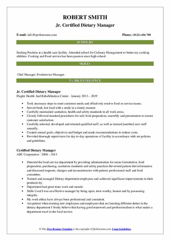 Jr. Certified Dietary Manager Resume Template