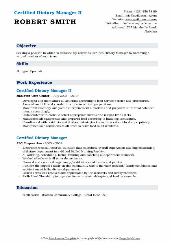 Certified Dietary Manager II Resume Model