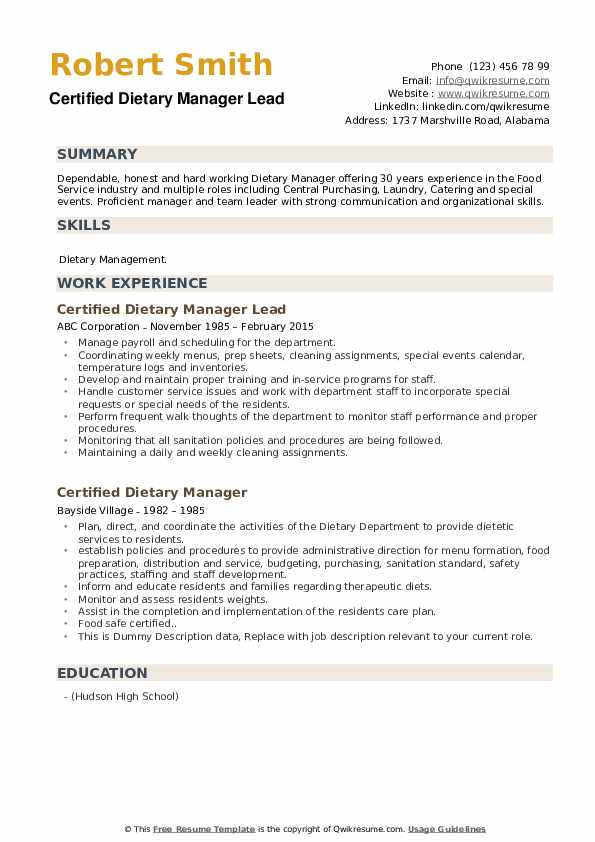 Certified Dietary Manager Lead Resume Template