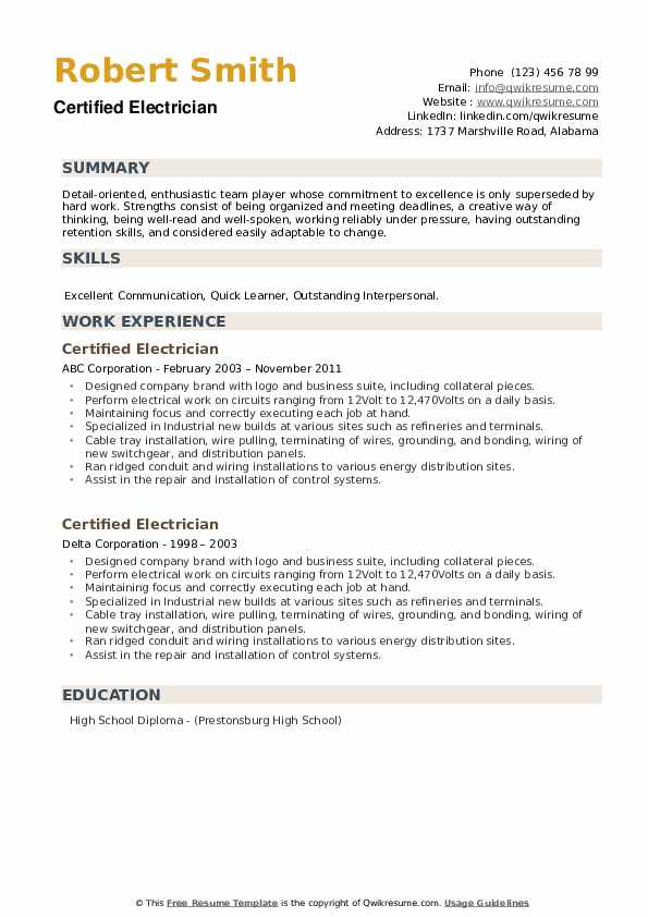 Certified Electrician Resume example