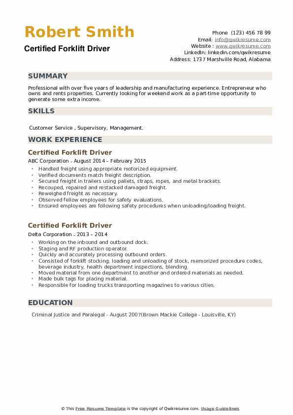 Certified Forklift Driver Resume example