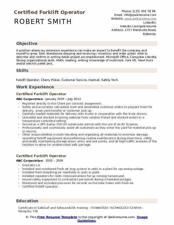 certified forklift operator resume samples