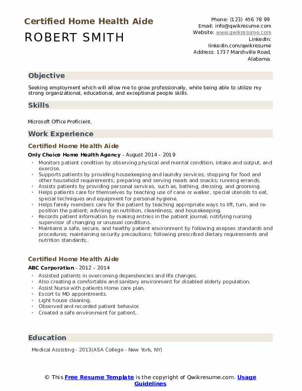 Certified Home Health Aide Resume Template