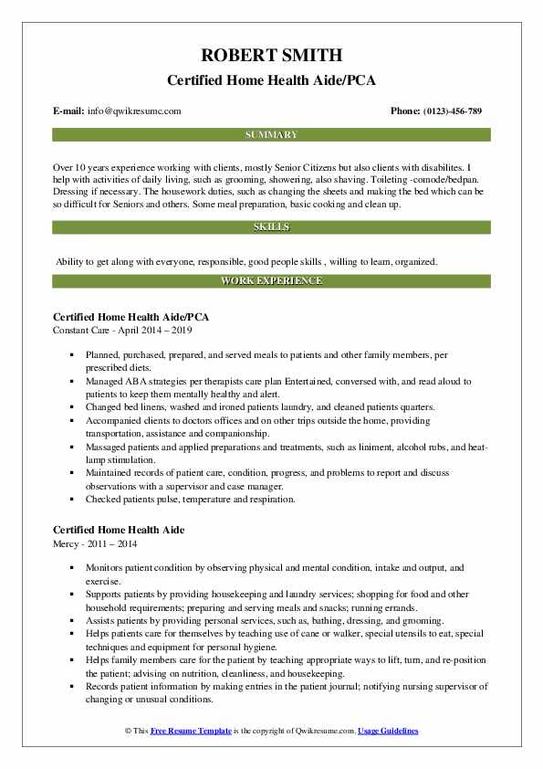 Certified Home Health Aide/PCA Resume Sample