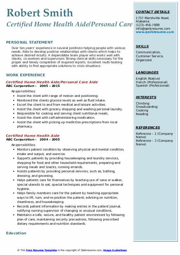 Certified Home Health Aide/Personal Care Aide Resume Sample