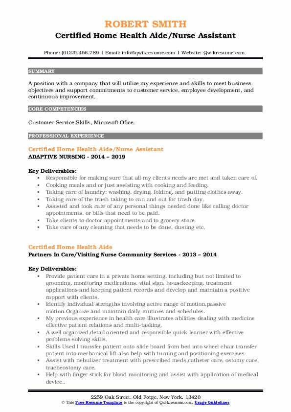 Certified Home Health Aide/Nurse Assistant Resume Template