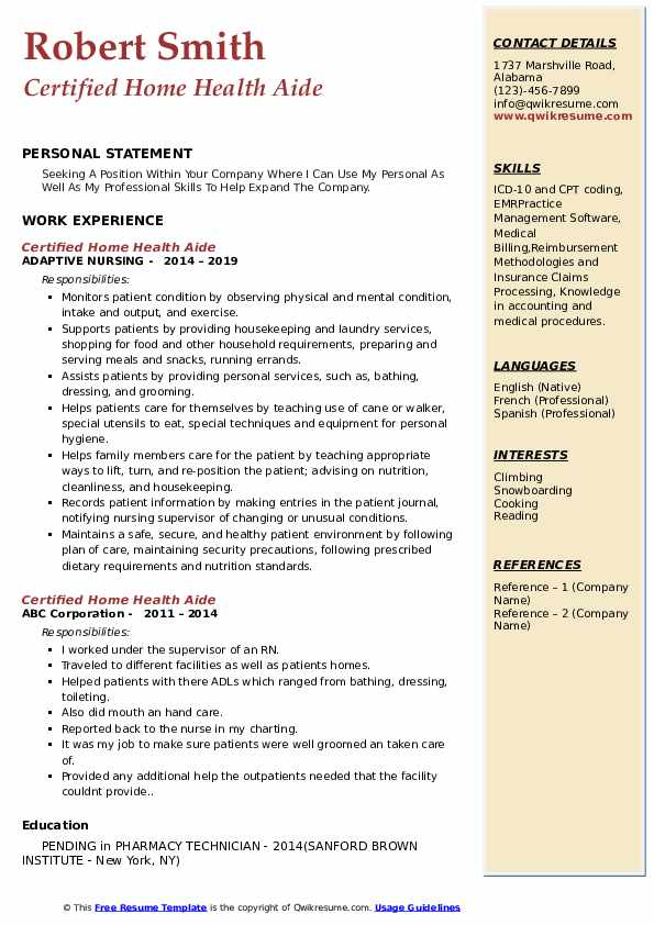 Certified Home Health Aide Resume Format