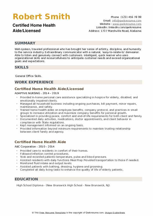 Certified Home Health Aide/Licensed Resume Template