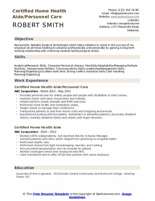 Certified Home Health Aide/Personnel Care Resume Sample