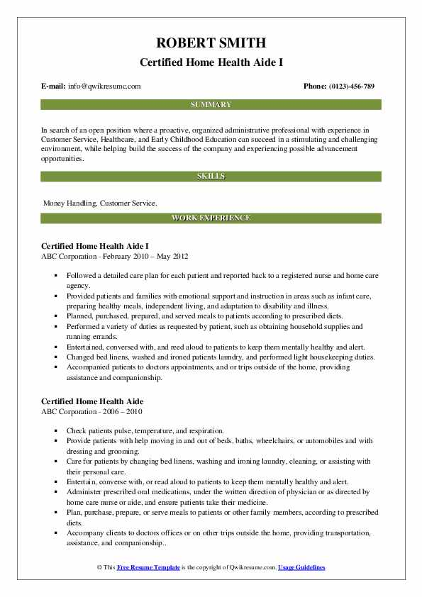 Certified Home Health Aide I Resume Format