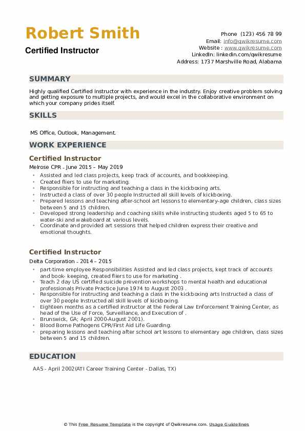 Certified Instructor Resume example