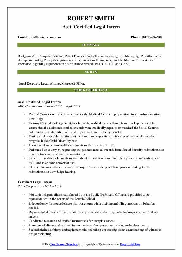 certified legal intern resume samples  qwikresume