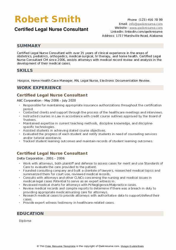 Certified Legal Nurse Consultant Resume example