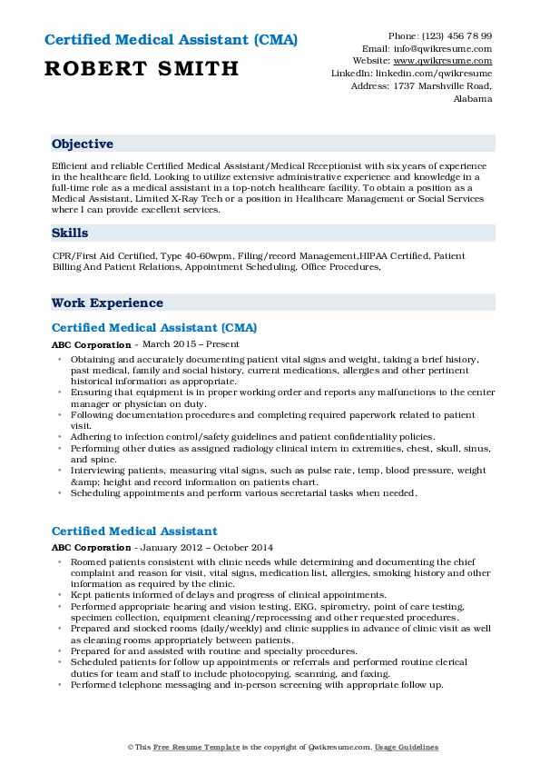 Certified Medical Assistant (CMA) Resume Format