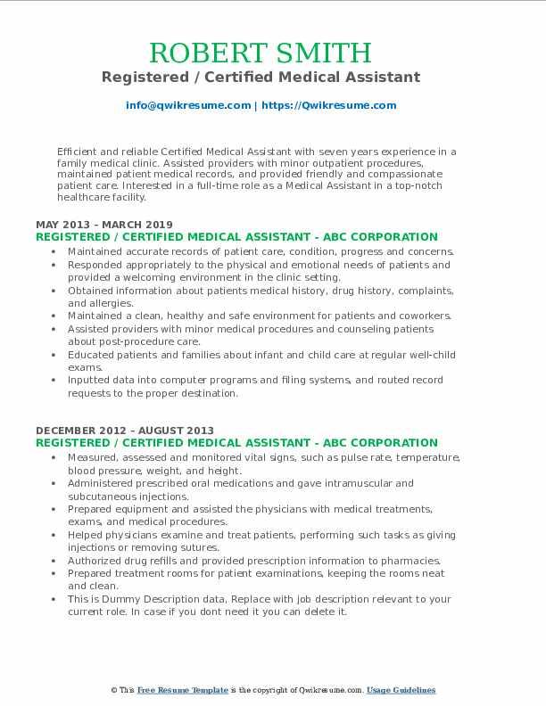Registered / Certified Medical Assistant Resume Format