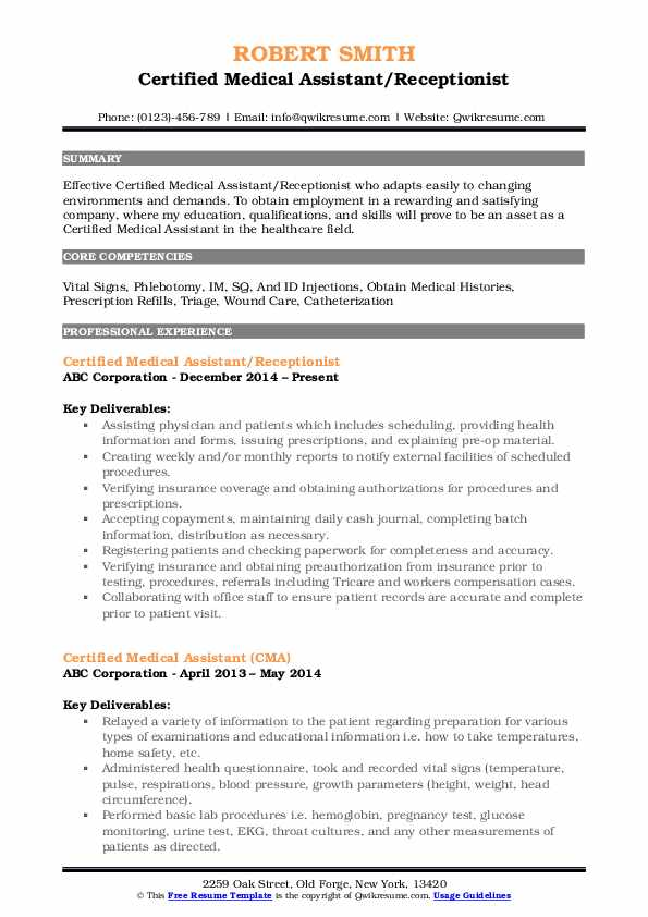 Certified Medical Assistant/Receptionist Resume Sample