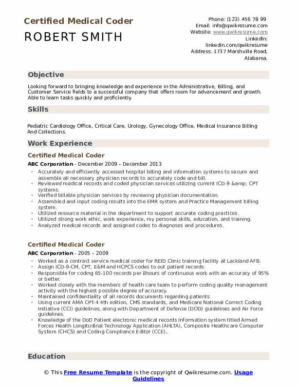 Certified Medical Coder Resume Template