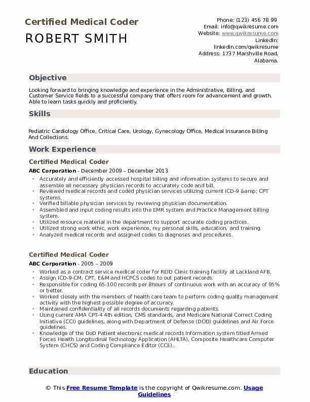 Certified Medical Coder Resume Samples | QwikResume