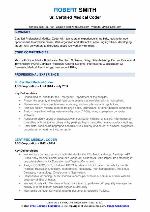 certified medical coder resume samples