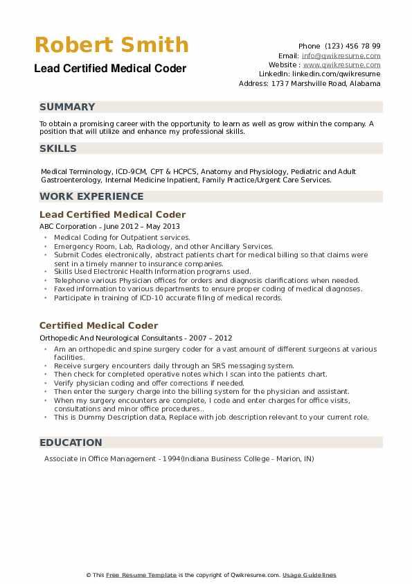 certified medical coder resume samples  qwikresume