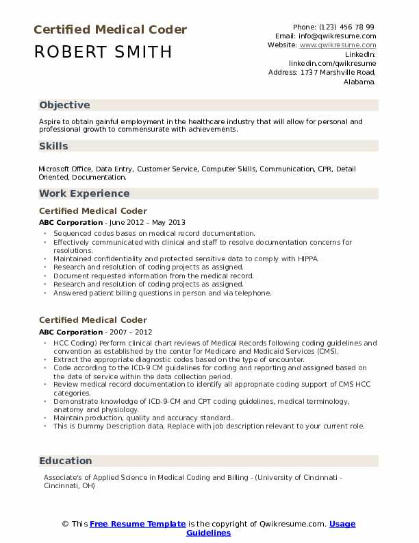 Certified Medical Coder Resume example