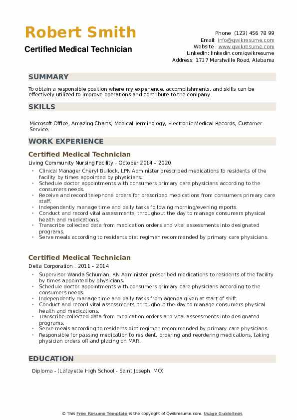 Certified Medical Technician Resume example