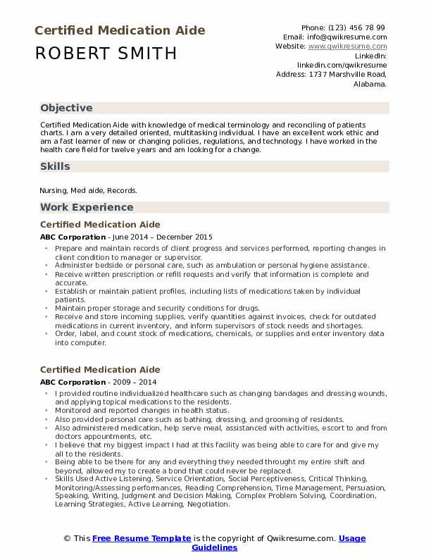 certified medication aide resume samples