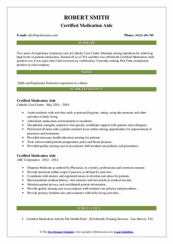 Certified Medication Aide Resume Format