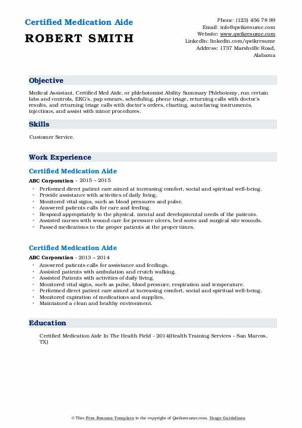 Certified Medication Aide Resume Example