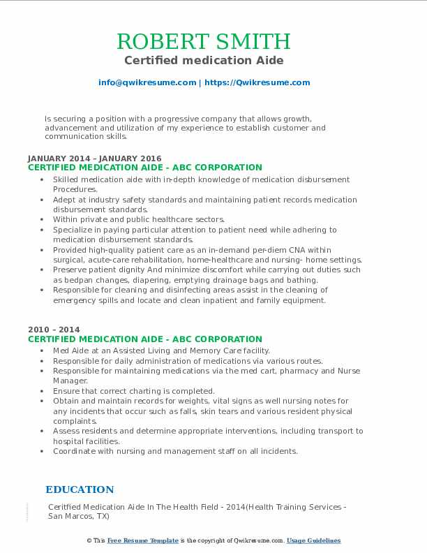 Certified medication Aide Resume Template
