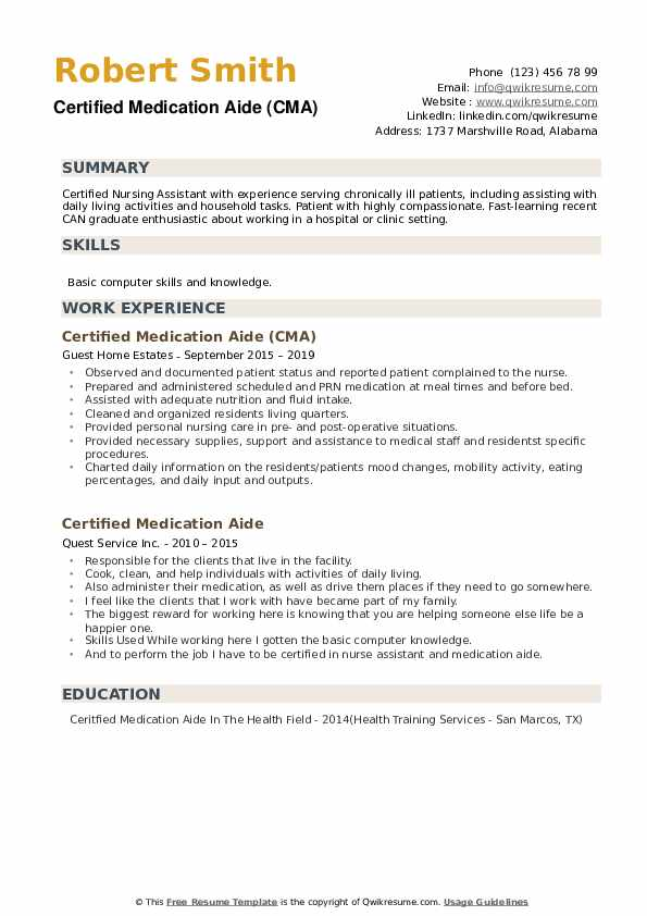 Certified Medication Aide (CMA) Resume Model