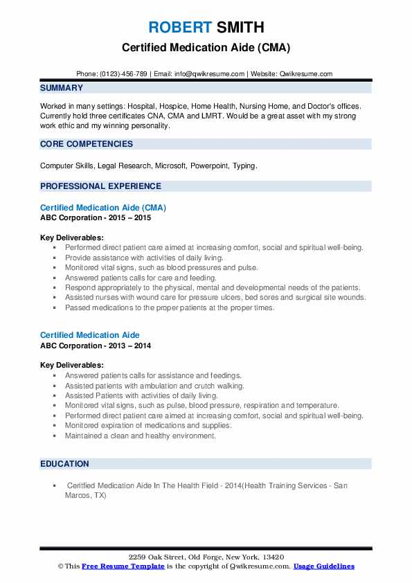 Certified Medication Aide (CMA) Resume Format