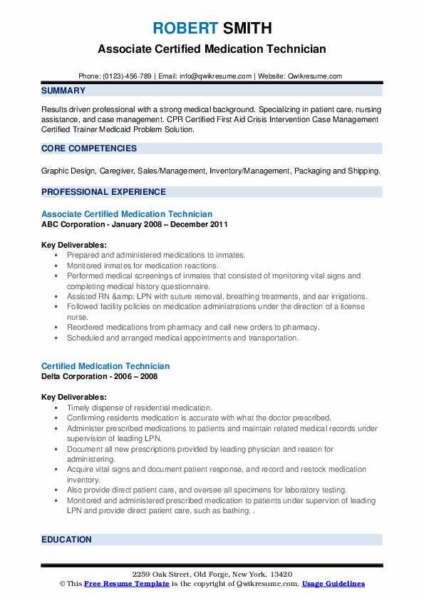 Certified Medication Technician Resume Samples Qwikresume
