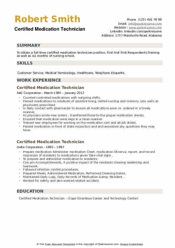 Certified Medication Technician Resume example