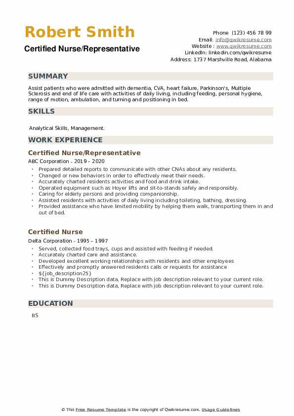 Certified Nurse Resume example