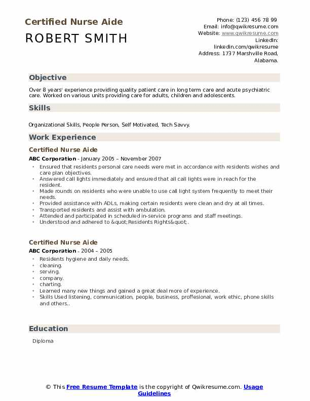 Certified Nurse Aide Resume Example