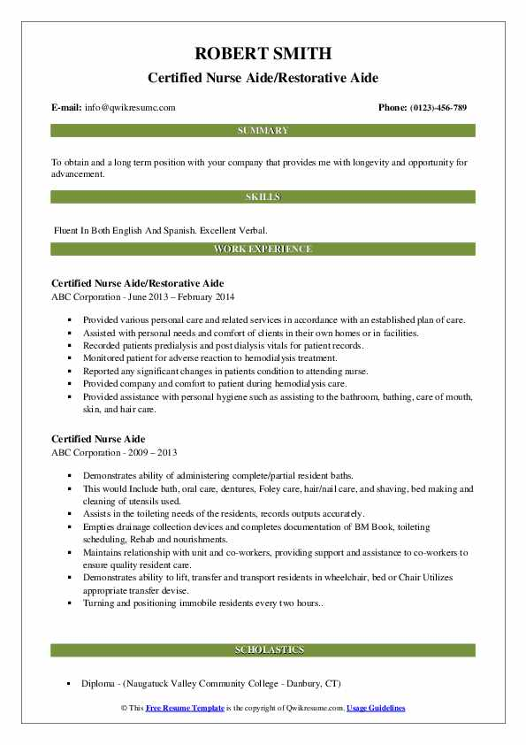 Certified Nurse Aide Resume Samples | QwikResume