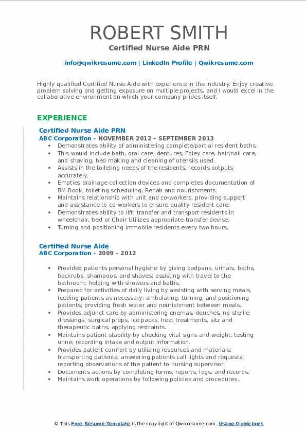 Certified Nurse Aide PRN Resume Model