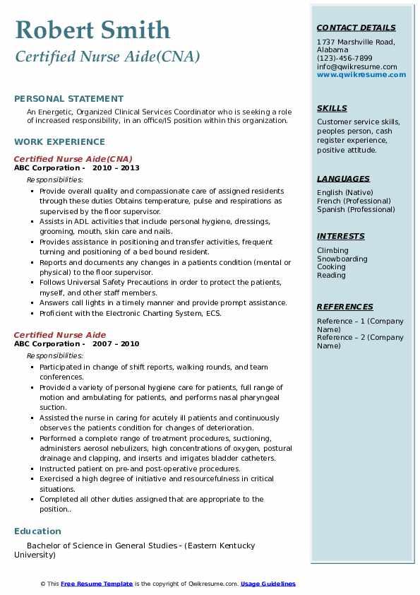 Certified Nurse Aide(CNA) Resume Template