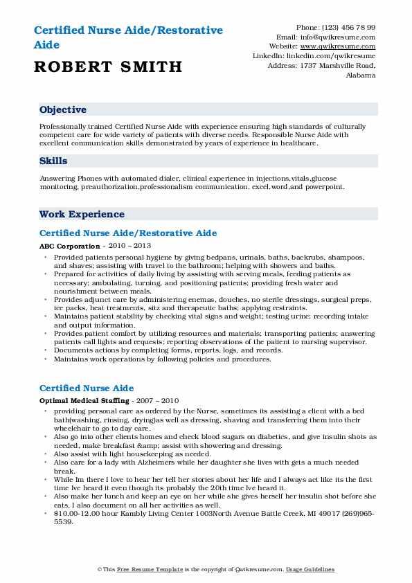Certified Nurse Aide/Restorative Aide Resume Template