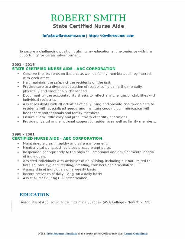 State Certified Nurse Aide Resume Sample