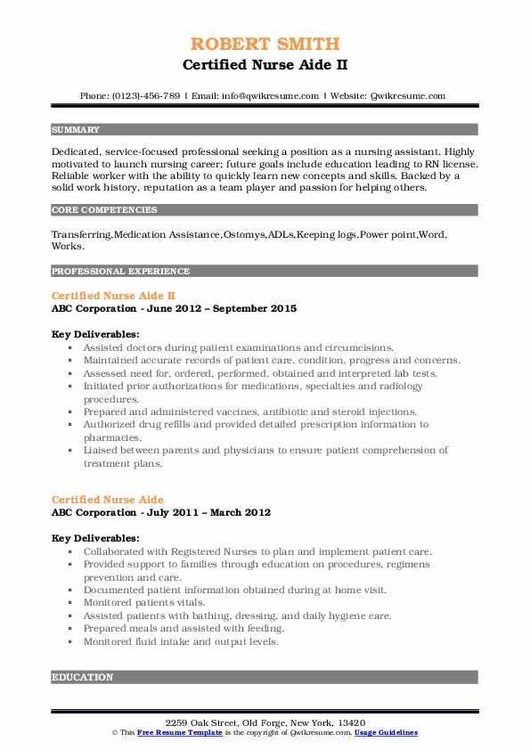 Certified Nurse Aide II Resume Sample