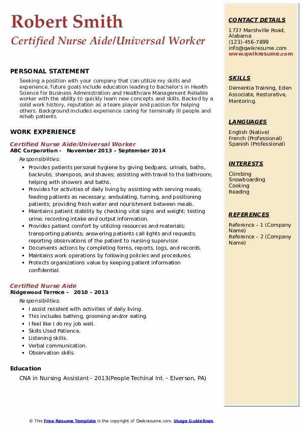 Certified Nurse Aide/Universal Worker Resume Template